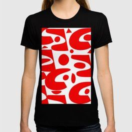 Red and white abstract art organic decorative T-shirt