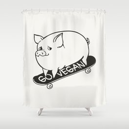 Skateboarding Vegan Pig Shower Curtain