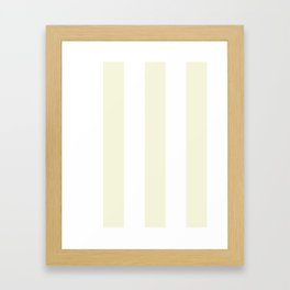 Wide Vertical Stripes - White and Beige Framed Art Print