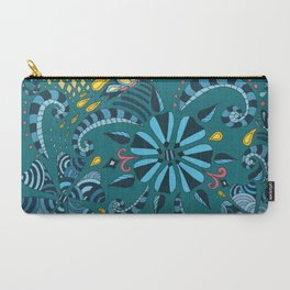Floral Turquoise  Carry-All Pouch