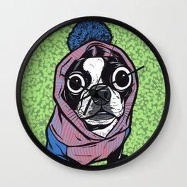 Boston Terrier Sweater Hoodie Wall Clock