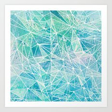 aquamarine with white geometry space Art Print