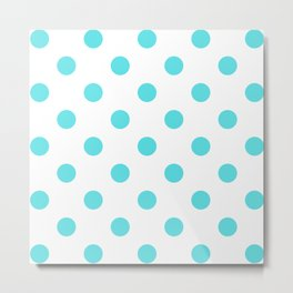 Teal Blue Polka Dots On White Background Metal Print