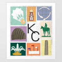 kansas city Art Prints featuring Kansas City Landmark Print by Jenna Davis Designs