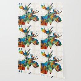 Colorful Moose Art - Confetti - By Sharon Cummings Wallpaper