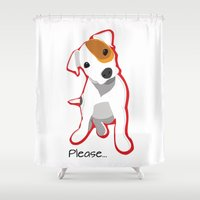 """jack russell Shower Curtains featuring """"Please"""" Jack Russell Terrier Puppy by Unionjackrussells"""