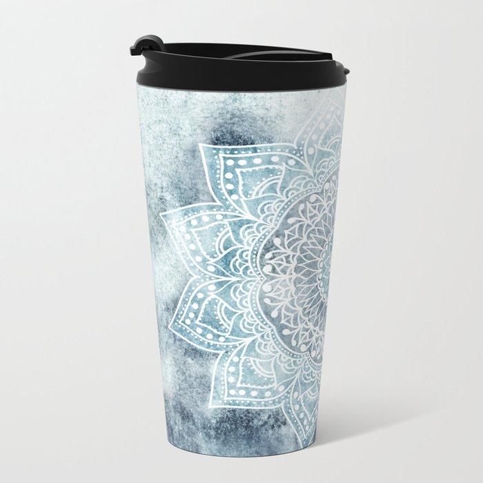 DEEP BLUE MANDALA Metal Travel Mug