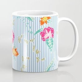 Modern trendy baby blue stripes tropical bright floral pattern Coffee Mug