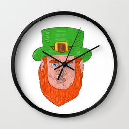 Leprechaun Head Front Drawing Wall Clock