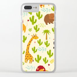 Animals seamless vector background. Giraffe, zebra, wombat and cactus, palm. Children, print, funny Clear iPhone Case