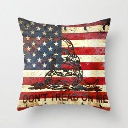 American Flag And Gadsden Flag Composition Throw Pillow