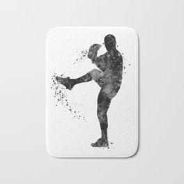Baseball Boy Art Softball Pitcher Black and White Art Sports Gift Bath Mat