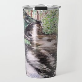 RIVER VIEW IN WONDERLAND - Original Fine art painting by HSIN LIN / HSIN LIN ART Travel Mug