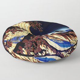 The GREAT Wave Midnight Blue Brown Floor Pillow
