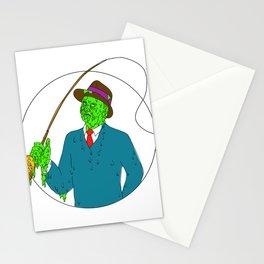 Mobster Fisherman Fly Rod Reel Grime Art Stationery Cards