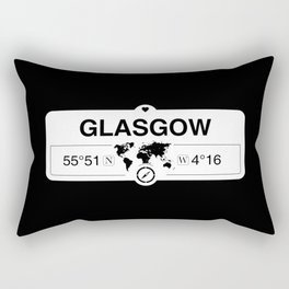 Glasgow Scotland GPS Coordinates Map Artwork with Compass Rectangular Pillow