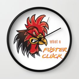 Angry Rooster Fuster Cluck Wall Clock