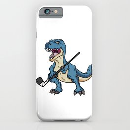 Funny T-Rex Dinosaur Gift Hockey Player iPhone Case