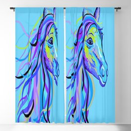 Blue Horse Blackout Curtain