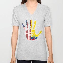 USA Ecuador Handprint & Flag | Proud Ecuadorian American Heritage, Biracial American Roots, Culture Unisex V-Neck