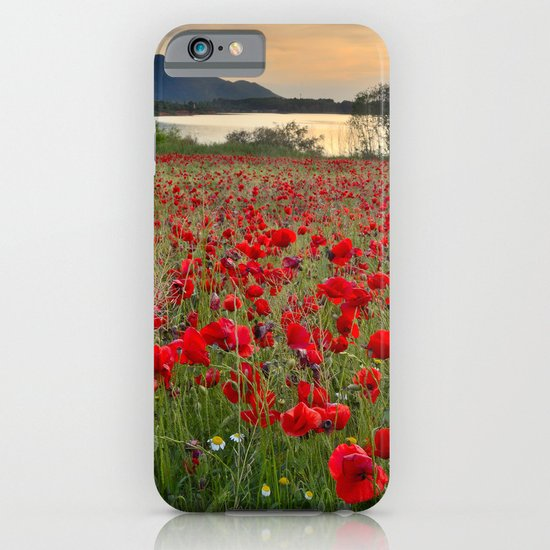Field of poppies in the lake iPhone & iPod Case