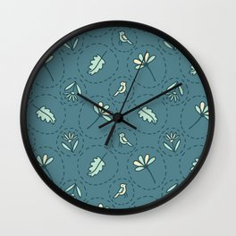 Tiny Floral Birds Dotty Seamless Pattern Wall Clock