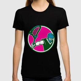 Lacrosse Player Crosse Stick Circle Retro T-shirt