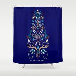 La Vie & La Mort – Navy Shower Curtain