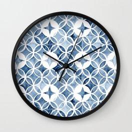 Indigo Retro Tile Wall Clock