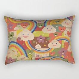 Kitschy Cute Kawaii Rainbows and Happy Clouds Rectangular Pillow
