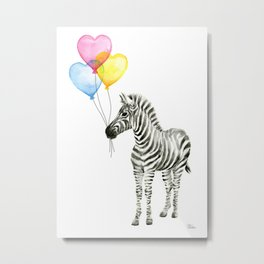 Zebra Watercolor With Heart Shaped Balloons Metal Print