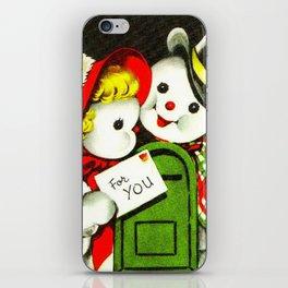 Retro Snowman Couple iPhone Skin