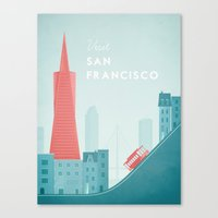 san francisco Canvas Prints featuring San Francisco by Travel Poster Co.