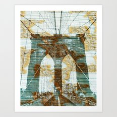 Cloudy Day Brooklyn Bridge Art Print