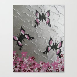 grey gray silver pink white design with three 3 butterflies butterfly pretty girls beautiful designs Canvas Print