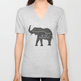 Elephant with words Unisex V-Neck