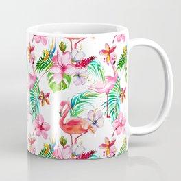 Hand painted blush pink coral watercolor tropical flamingo floral Coffee Mug