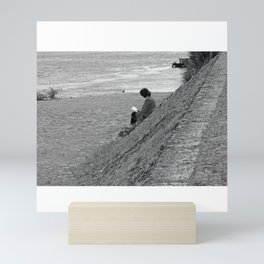 Woman Reading on Hill in France - Black and White Mini Art Print