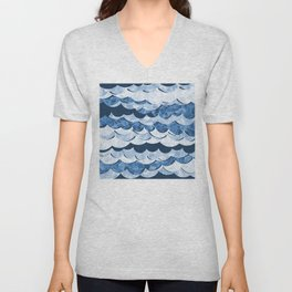 Abstract Blue Sea Waves Design Unisex V-Neck