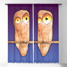 Owl watercolor Blackout Curtain