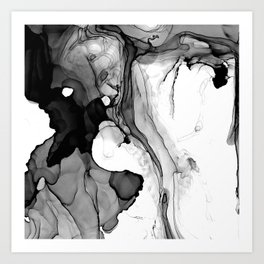 Soft Black Marble Art Print