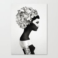 black Canvas Prints featuring Marianna by Ruben Ireland
