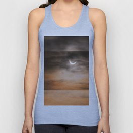 Partial solar eclipse and clouds morning sky Unisex Tank Top