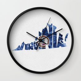 Virginia Typographic Flag Map Art Wall Clock