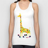 number Tank Tops featuring Paint by number giraffe by Picomodi