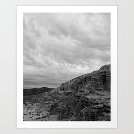 Red Rocks in Black & White Art Print