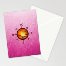 Sailboat And Compass Rose Pink Stationery Cards