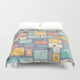 Retro styled pattern with letters and postcards Duvet Cover
