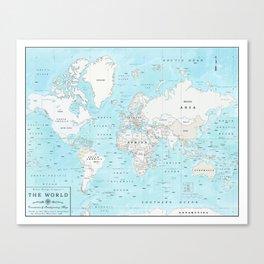 World's Oceans Bathymetry Map Canvas Print