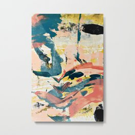 033.3: a vibrant abstract design in pink blue yellow an black Alyssa Hamilton Art Metal Print